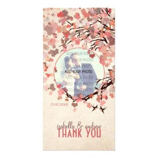Pájaros del amor - el boda de la caída le agradece tarjeta fotografica personalizada