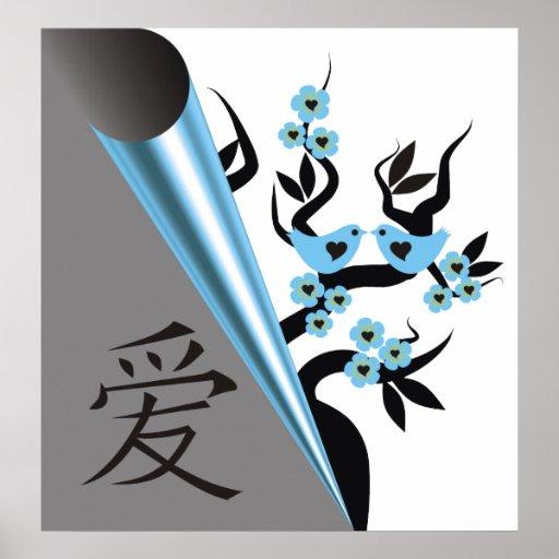 Pájaros del amor en el árbol de Sakura y el símbol Póster