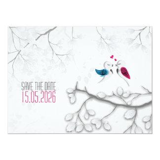 """Pájaros del amor en el blanco mágico - reserva del invitación 6.5"""" x 8.75"""""""