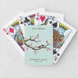 Pájaros del amor en el boda del árbol baraja cartas de poker