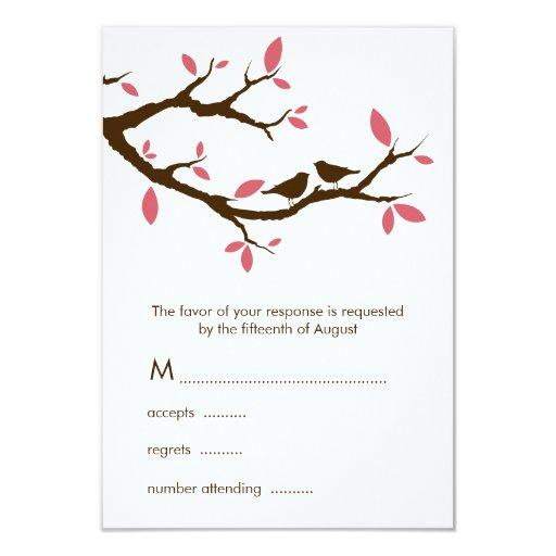 Pájaros del amor en el boda del árbol invitación 8,9 x 12,7 cm