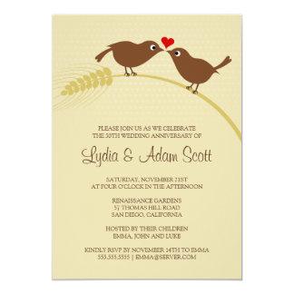 """Pájaros del amor en el trigo - aniversario de boda invitación 5"""" x 7"""""""