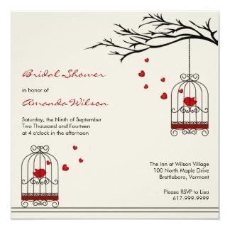 Pájaros del amor en invitaciones nupciales de la invitación 13,3 cm x 13,3cm