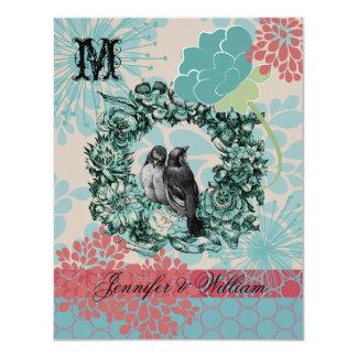 Pájaros del amor en la guirnalda floral que casan invitación 10,8 x 13,9 cm