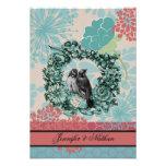 Pájaros del amor en la tarjeta floral de RSVP de l Comunicados Personalizados