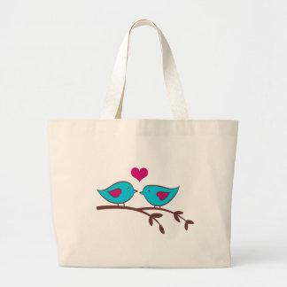 Pájaros del amor en verde bolsa tela grande