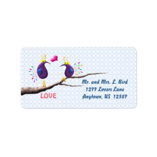 Pájaros del amor etiquetas de dirección
