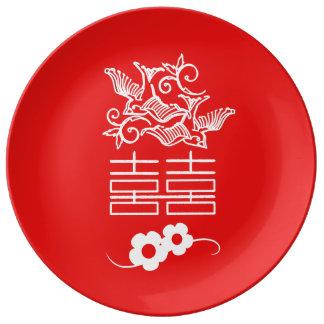 Pájaros del amor - felicidad doble - placa platos de cerámica
