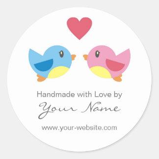 Pájaros del amor hechos a mano por los pegatinas p
