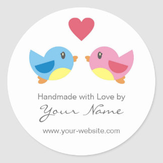 Pájaros del amor hechos a mano por los pegatinas pegatina redonda