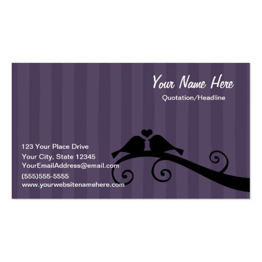 Pájaros del amor - negro gris púrpura tarjeta personal