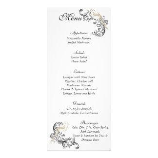 Pájaros del amor negros menú blanco del boda lona publicitaria