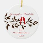 Pájaros del amor nuestro primer ornamento del adornos de navidad