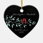 Pájaros del amor nuestro primer ornamento del navi adornos de navidad