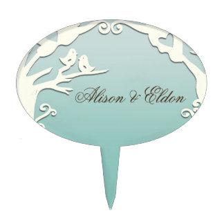 Pájaros del amor para siempre en azul de océano en decoración de tarta