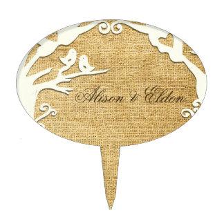 Pájaros del amor para siempre en la arpillera decoración de tarta