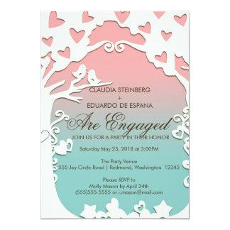 Pájaros del amor para siempre en rosa en colores invitacion personal