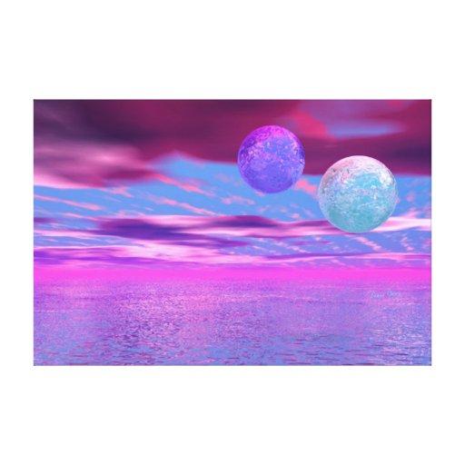 Pájaros del amor - pasión rosada y púrpura abstrac lona estirada galerias