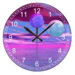 Pájaros del amor - pasión rosada y púrpura abstrac relojes de pared
