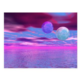 Pájaros del amor - pasión rosada y púrpura abstrac tarjeta postal