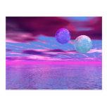 Pájaros del amor - pasión rosada y púrpura postal