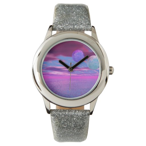Pájaros del amor, pasión rosada y púrpura relojes de pulsera