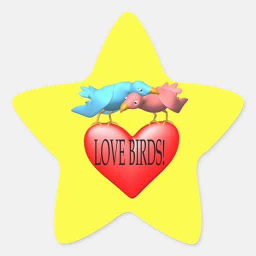 Pájaros del amor calcomanías forma de estrellas personalizadas