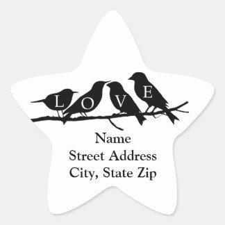 Pájaros del amor calcomanía forma de estrella personalizadas