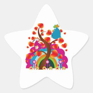 Pájaros del amor pegatina en forma de estrella