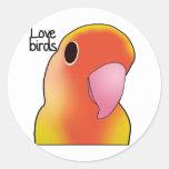 Pájaros del amor pegatina redonda