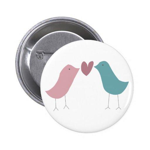 Pájaros del amor pin redondo 5 cm