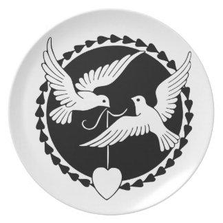 Pájaros del amor platos para fiestas