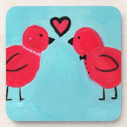 Pájaros del amor posavaso