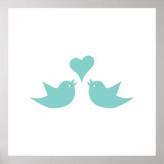 Pájaros del amor que cantan del corazón póster
