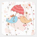 Pájaros del amor que casan a tarjetas del día de calcomanías cuadradas