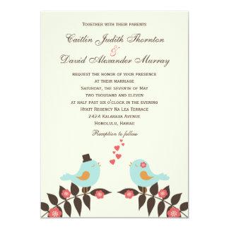 Pájaros del amor que casan la invitación