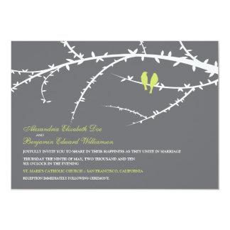 Pájaros del amor que casan la invitación (cal)
