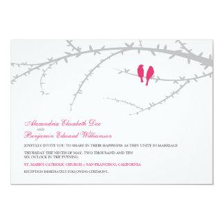 Pájaros del amor que casan la invitación (fucsia)