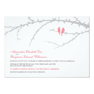 Pájaros del amor que casan la invitación (rosa)