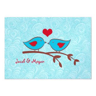 Pájaros del amor que casan la plantilla de la invitación 12,7 x 17,8 cm