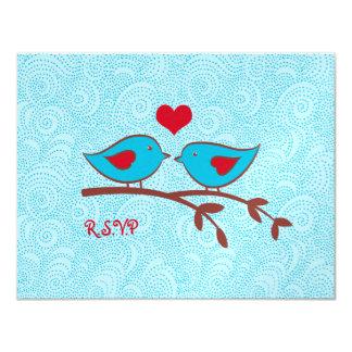 """Pájaros del amor que casan la postal de la tarjeta invitación 4.25"""" x 5.5"""""""