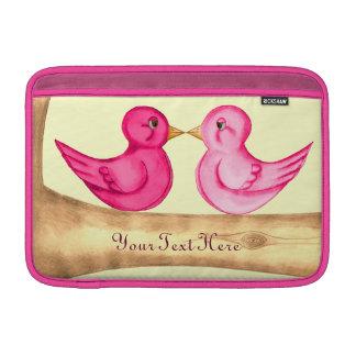 Pájaros del amor (rosa) fundas MacBook