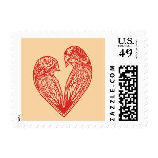 Pájaros del amor timbres postales