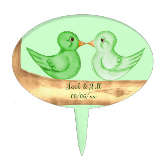 Pájaros del amor (verde) decoraciones de tartas