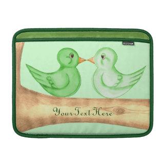 Pájaros del amor (verde) fundas macbook air