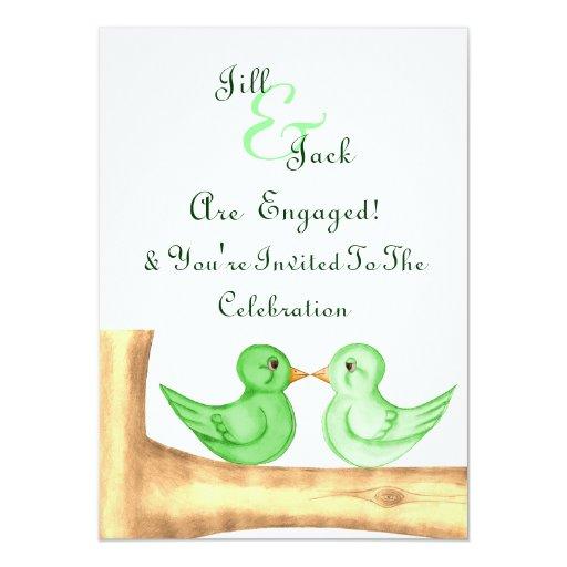"""Pájaros del amor (verde) invitación 4.5"""" x 6.25"""""""