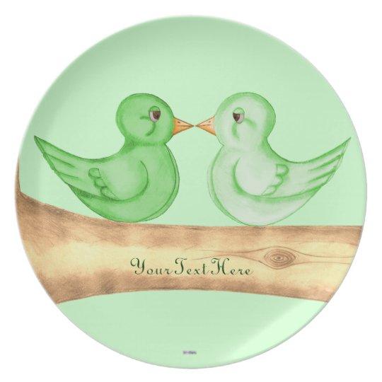 Pájaros del amor (verde) plato