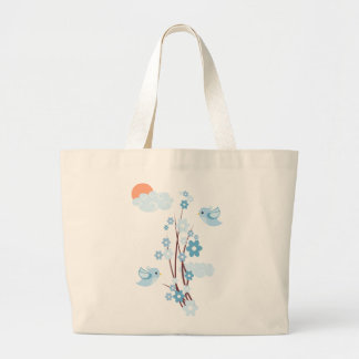 Pájaros del amor y flores delicadas bolsa tela grande