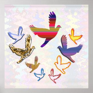 Pájaros del ángel impresiones