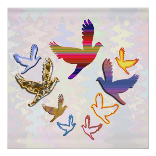 Pájaros del ángel póster